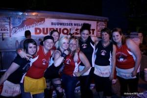Derby Girls Volunteer in Beer Tent